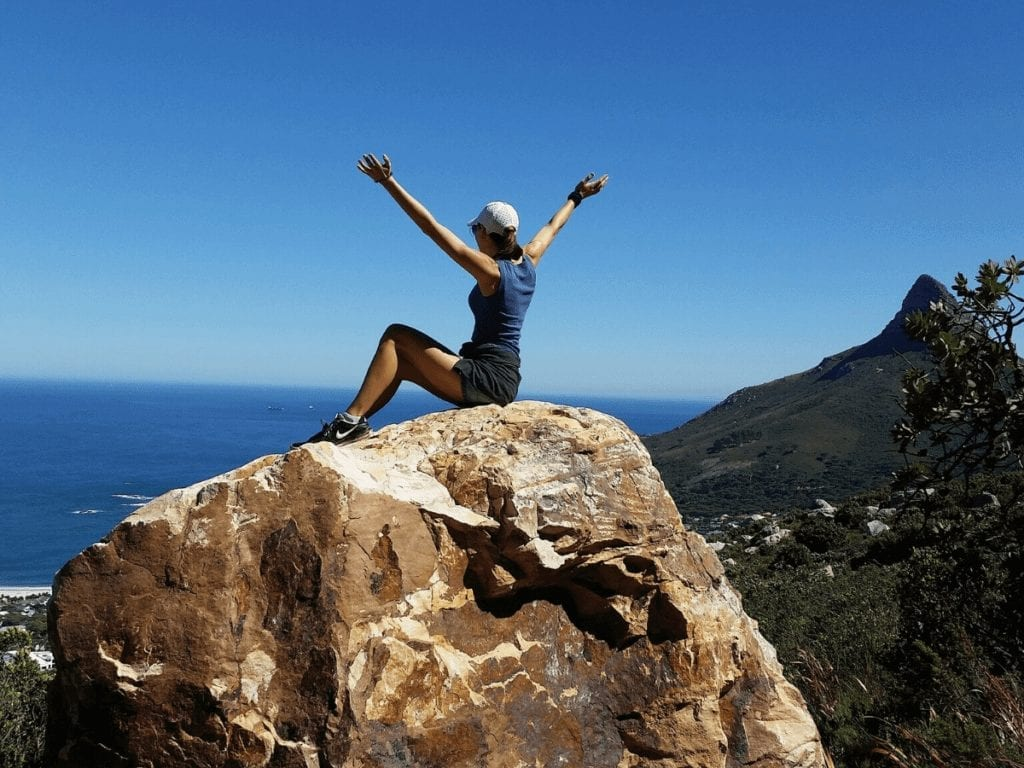 Active Happy Woman Hiking Exercise